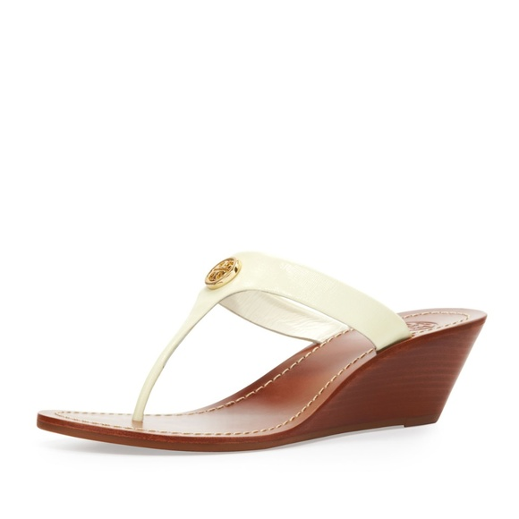 Tory Burch Shoes - TORY BURCH Cameron Patent Thong Wedge Sandal Ivory